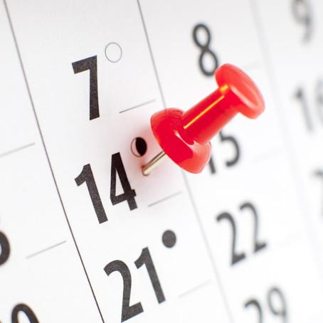 Dates importantes pour la rentrée 2021-2022