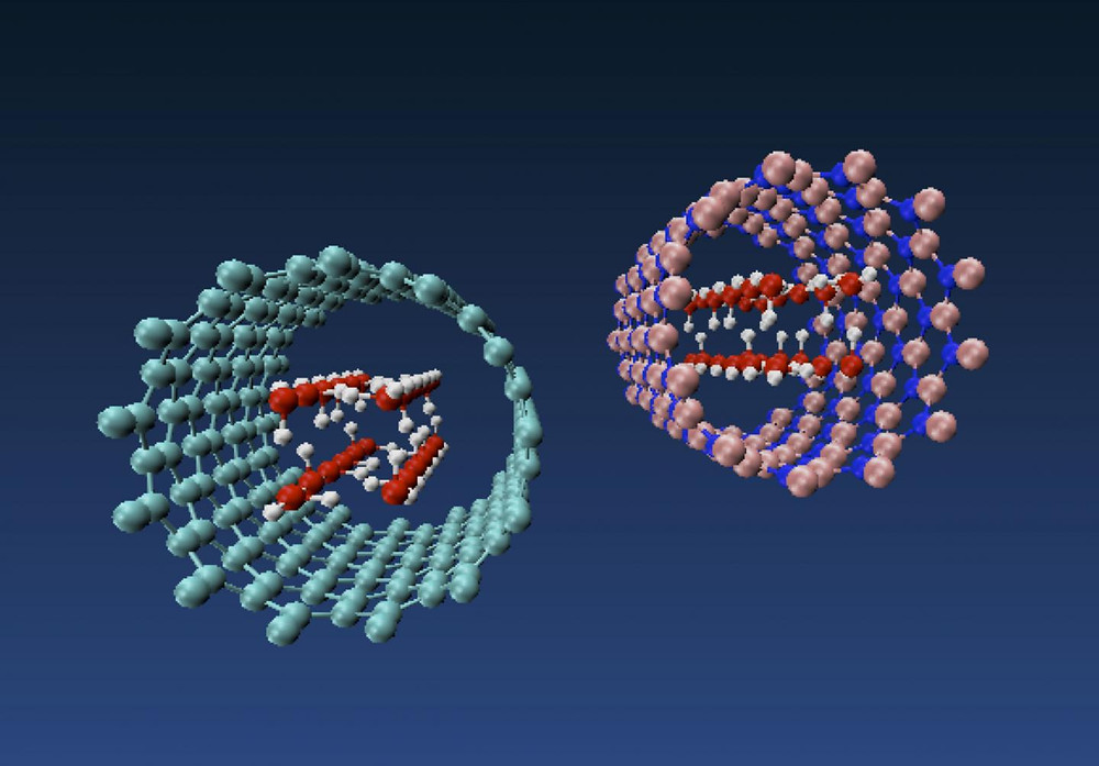 Molecular models of nanotube ice produced by engineers at Rice University show how forces inside a carbon nanotube at left and a boron nitride nanotube at right pressure water molecules into taking on the shape of a square tube. The phenomenon is dependent upon the diameter of the nanotube. @ Multiscale Materials Laboratory/Rice University