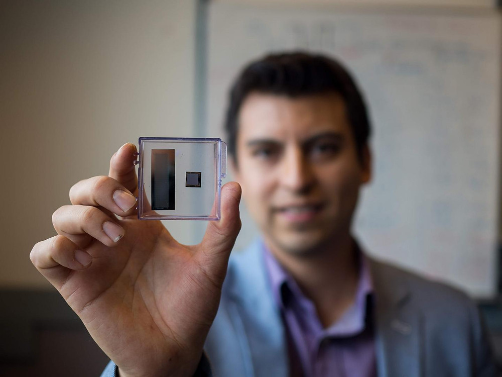 UBC researcher Carlos Gerardo shows new ultrasound transducer  @ Clare Kiernan, University of British Columbia