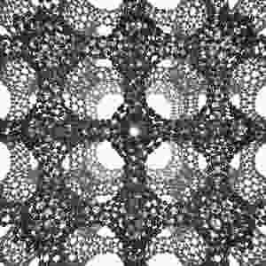 This is the three-dimensional cage structure of a schwarzite that was formed inside the pores of a zeolite. @ Graphics by Yongjin Lee and Efrem Braun