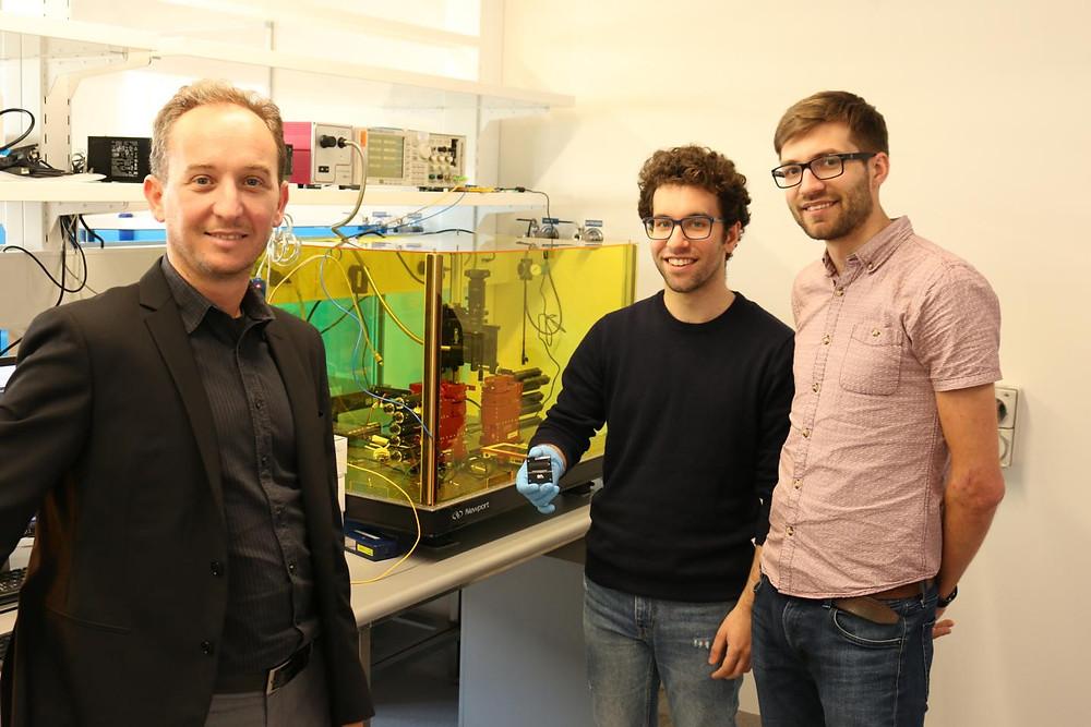 "Left to right: Yuanxun ""Ethan"" Wang, Tatsuo Itoh, Zhi Yao, and Rustu Umut Tok. @ UCLA Samueli Engineering"