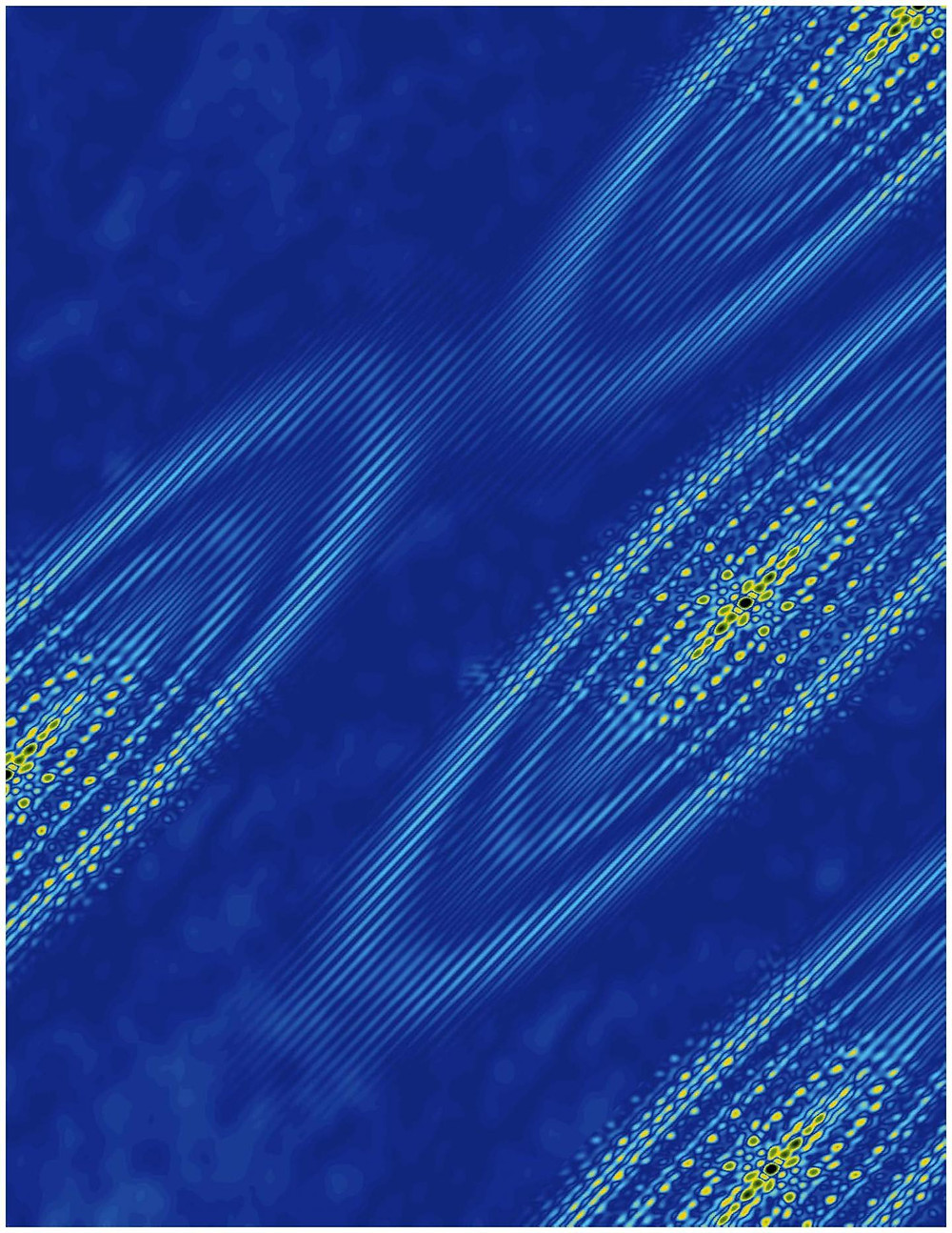 Elliptical orbits of bismuth surface electrons in a large magnetic field. The orientation and interference patterns of the electronic states reveal that the electrons prefer to occupy a single valley. Image created using a theoretical model of the data. @ Ali Yazdani Laboratory, Princeton University