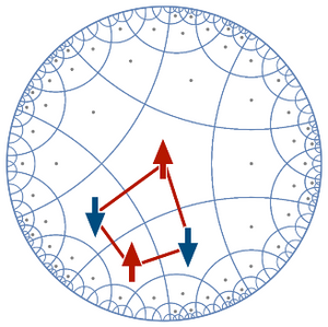 A hyperbolic lattice used by Han Yan in his most recent study. The lattice display pentagons changing their states collectively, which mimic gravitational forces. @ OIST