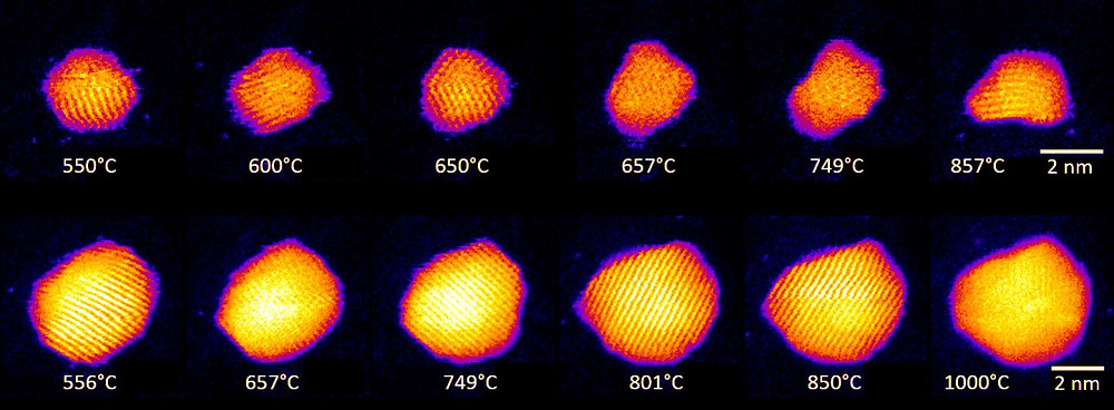 Shape changes in Au nanoclusters, indicating cluster surface melting at high temperatures. Images of two individual clusters containing 561 and 2530 atoms are shown.  @ Swansea University