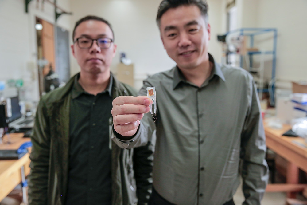 Graduate student Guang Yao (left) and Xudong Wang (right) hold a small implantable device that helped rats lose 40 percent of their body weights. @ Sam Million-Weaver