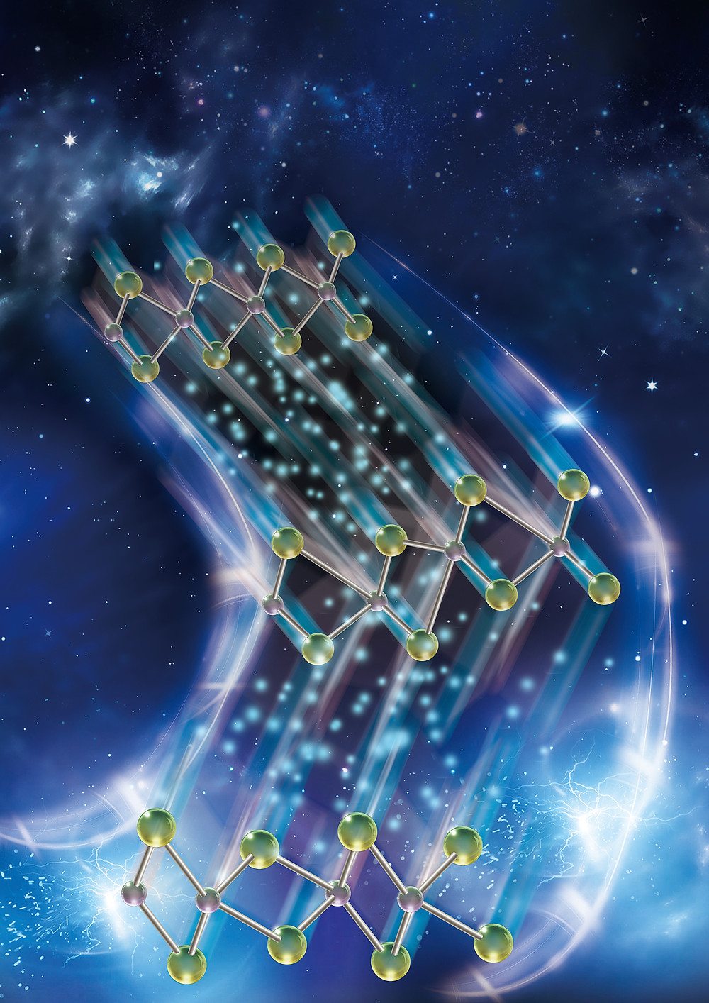 Researchers have discovered a new functionality in a two-dimensional material that allows data to be stored and retrieved much faster on a computer chip, saving battery life. @ Purdue University illustration