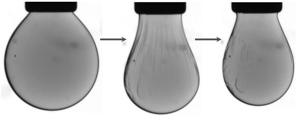 "Nanocrystals within a liquid droplet that is injected into an oily solution (left) are chemically compressed into a solid-like ""jammed"" 2D state (middle) -- which causes wrinkles to form on the surface of the droplet -- and then revert to a relaxed, liquid-like state (right) in which the wrinkles smooth out. @ Lawrence Berkeley National Laboratory"