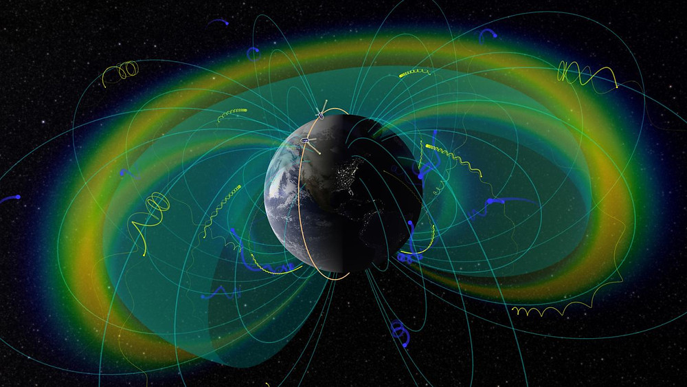 An artist's depiction of the Van Allen Belts, showing Earth's magnetic field lines and the trajectories of charged particles trapped by them. The twin ELFIN spacecraft are shown following their inclined polar orbit, traced in yellow.  @ UCLA EPSS/NASA SVS