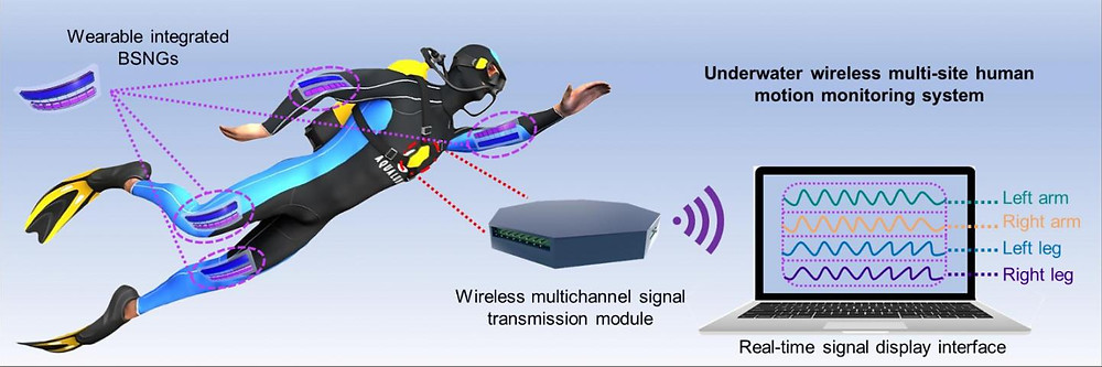 Underwater wireless multi-site human motion monitoring system based on bionic stretchable nanogenerator (BSNG).  @ TAN Puchuan