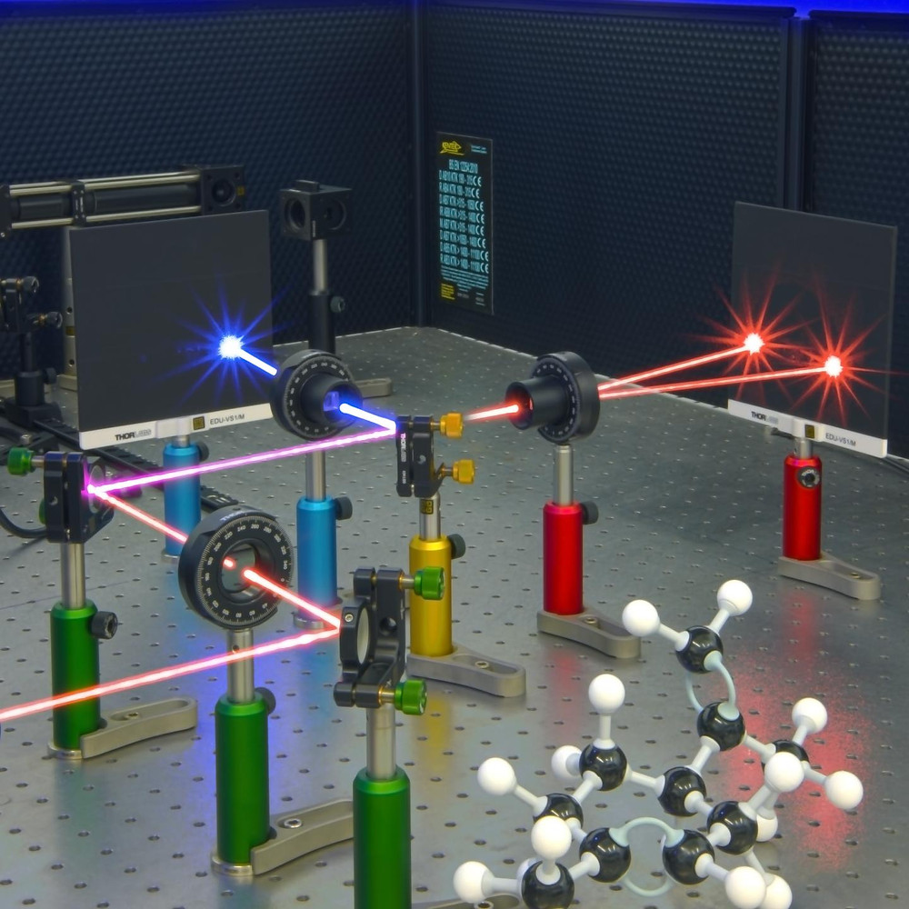 A laser beam changed from red to blue by interacting with chiral molecules. @ Ventsislav Valev and Joel Collins