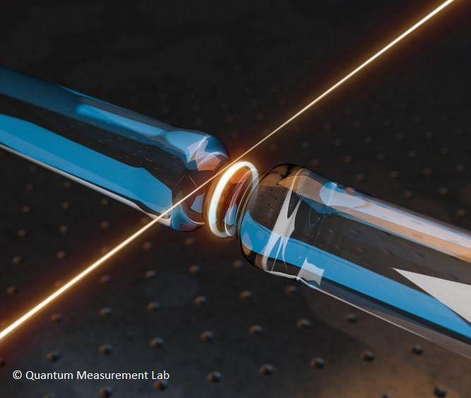 Light (shown in orange) is injected into an optical microresonator via a tapered optical fiber. The light circulates many thousands of times inside the structure and couples strongly to high-frequency acoustic waves. @ Quantum Measurement Lab, Imperial College London