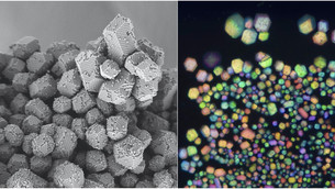 Electrostatic charge to assemble particles into materials mimicking gemstones