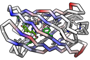 A depiction of a beta barrel protein created at the Institute for Protein Design @ Institute for Protein Design