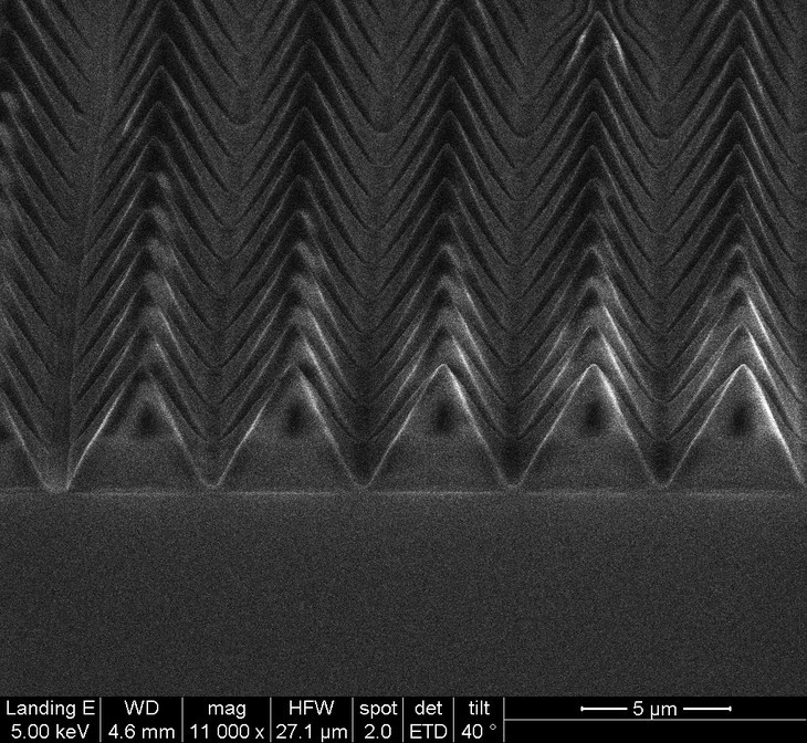 Sapphire surface with symmetric pyramids.  @ Yin Lab/Penn State