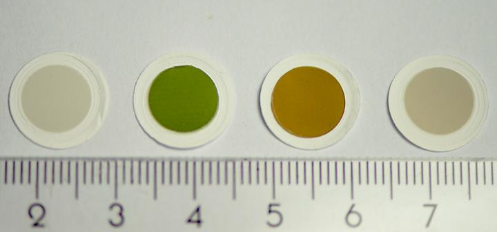 Samples of the colorful carbon nanotube thin films, as produced in the fabrication reactor. @ Authors / Aalto University