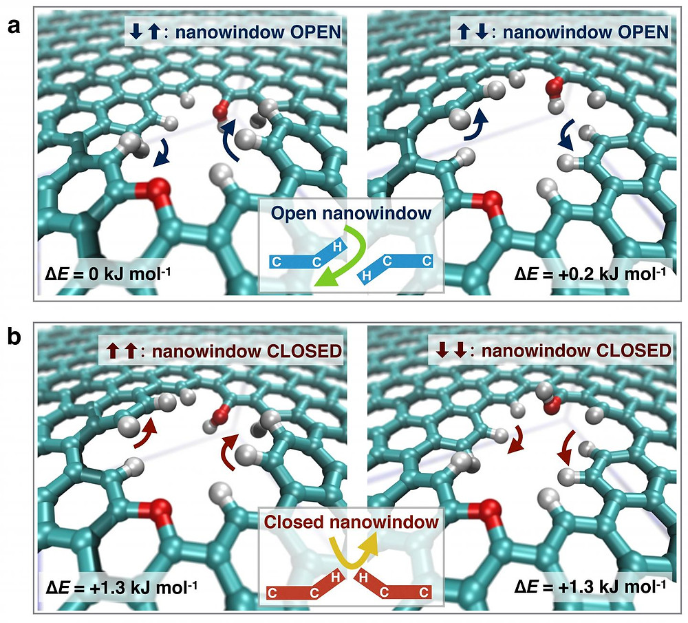 This is functional group flapping mechanism in a small nanowindow which can be in an open or closed status for allowing O2 permeation. @ Nature Communications