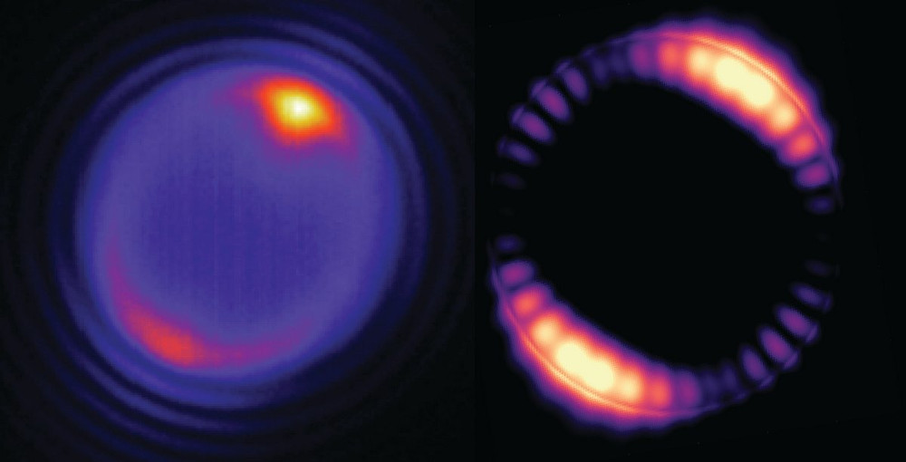 At left, a tiny bead struck by a laser (at the yellowish spot shown at the top of the image) produces optical modes that circulate around the interior of the bead (pinkish ring). At right, a simulation of how the optical field inside a 5-micron (5 millionths of a meter) bead is distributed. @ Angel Fernandez-Bravo/Berkeley Lab, Kaiyuan Yao