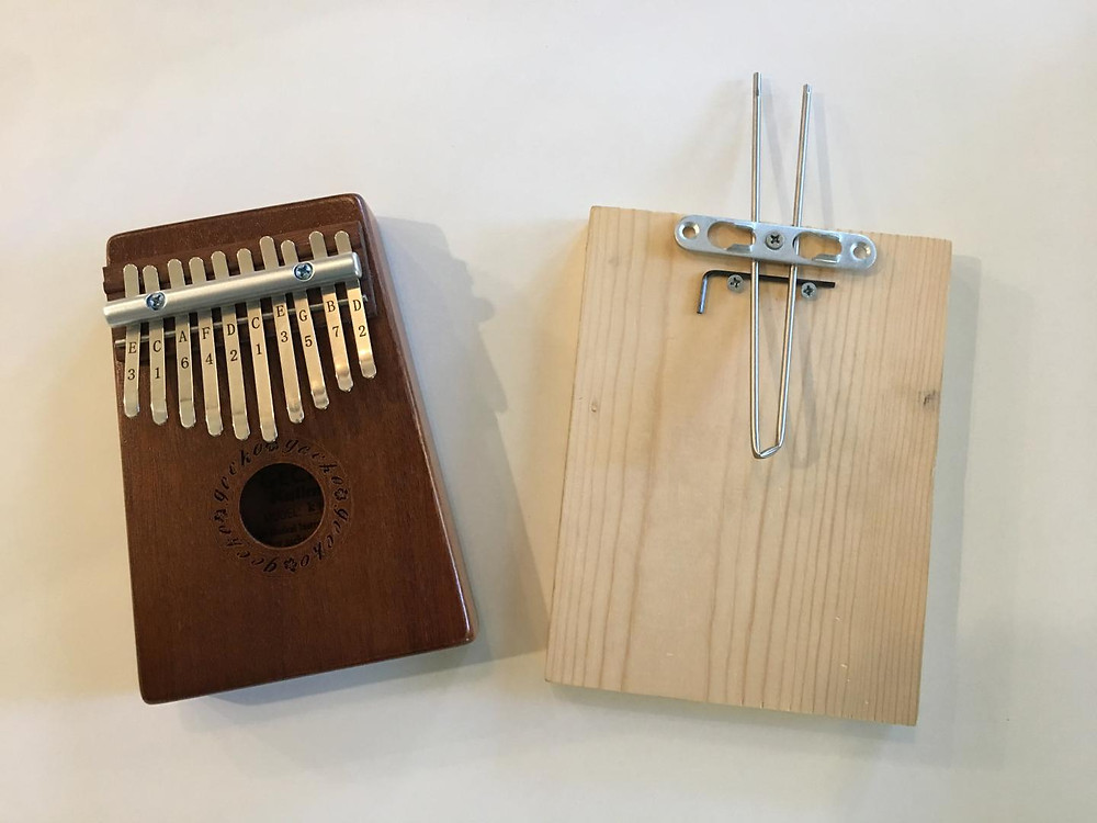 Mbira instrument next to a density sensor based on it. @ William Grover