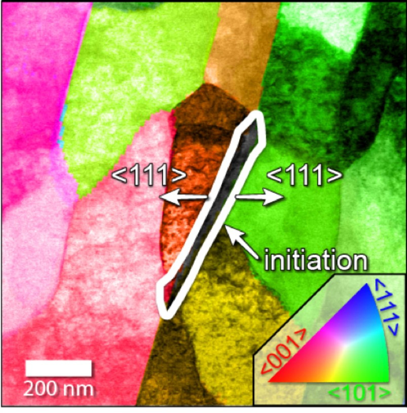 A Sandia National Laboratories transmission electron microscope helped create this phase equilibrium map showing areas where corrosion of steel was observed at the triple junction formed where one cementite grain abuts two ferrite grains. @ Katherine Jungjohann
