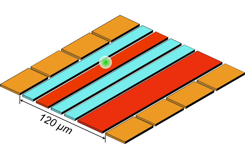 """Diagram of NIST's ion trap used for reversible """"quantum squeezing"""" to amplify and measure ion motion. The ion (white ball) is confined 30 micrometers above the trap surface by voltages applied to the eight gold electrodes and the two red electrodes. Squeezing—which reduces the uncertainty of motion measurements—is achieved by applying a specific signal to the red electrodes. The ion is moved by applying another type of signal to one of the gold electrodes. Then the squeezing is reversed, and the blue electrodes generate magnetic fields used to decode the amplified motion measurements. @ S. Burd/NIST"""