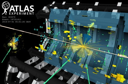 Visualization of an event from the tt̄H(yy) analysis. The event contains two photon candidates displayed as green towers in the electromagnetic calorimeter, and six jets (b-jet) shown as yellow (blue) cones. @ ATLAS Collaboration/CERN
