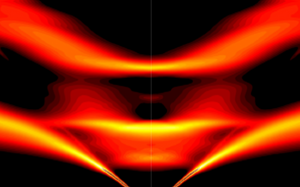 In a perfect thermoelectric crystal, vibrational waves decompose and localize. A diagram of simulated phonon energy versus momentum reveals exactly where heat transport stops because of vibrations interfering nonlinearly—the flat band between the curved top and V-shaped bottom bands. @ Michael Manley/Oak Ridge National Laboratory, U.S. Dept. of Energy