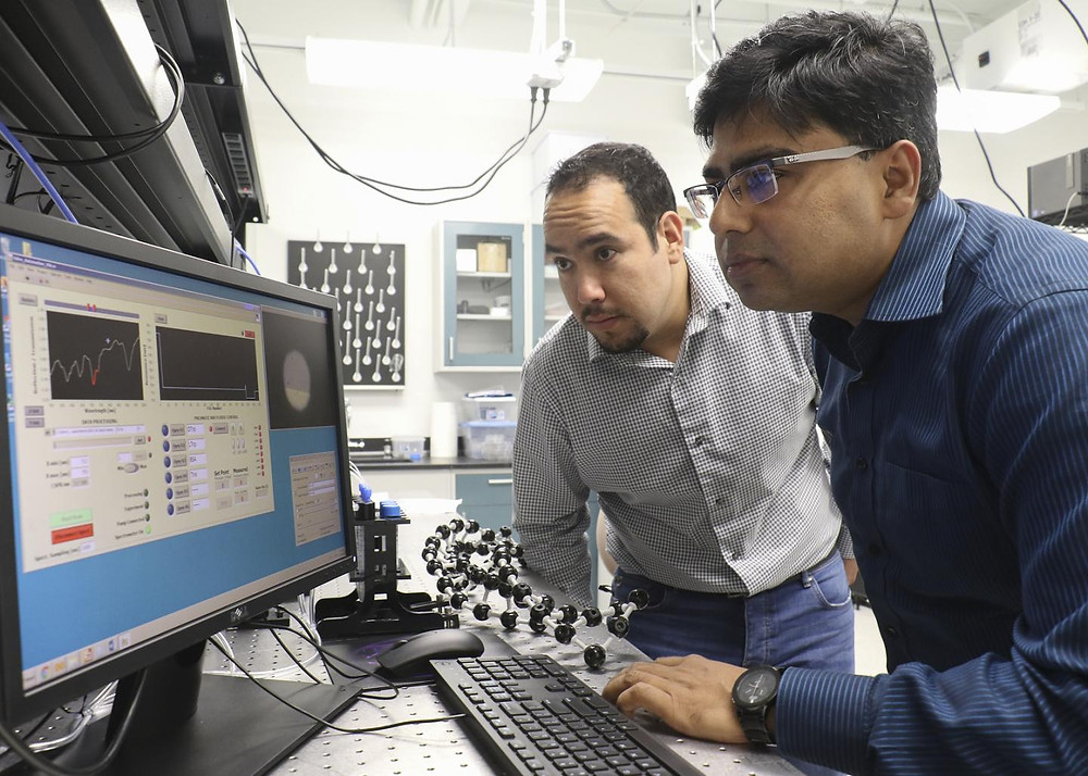 A University of Central Florida team has designed a nanostructured optical sensor that for the first time can efficiently detect molecular chirality -- a property of molecular spatial twist that defines its biochemical properties. @ Karen Norum / UCF
