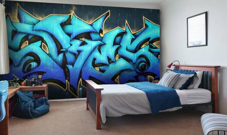 Graffiti boys room wallpaper