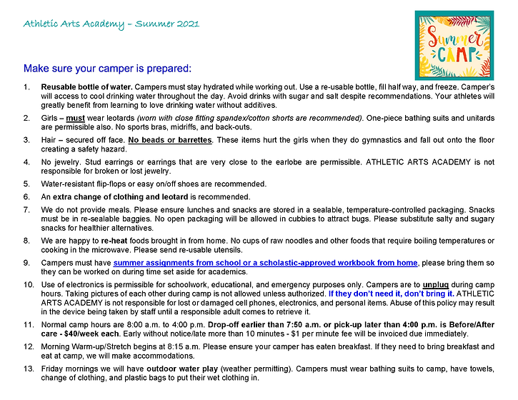 Summer Camp Information and Schedule_Pag