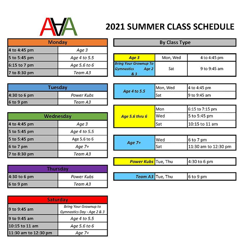 2021 Summer Class Schedule at a glance_e