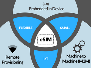eSIM: remote provisioning, M2M capabilities, embedded within any device, smallest SIM made to date, multi-application ready