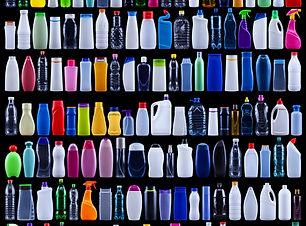 Large set of plastic bottles isolated on
