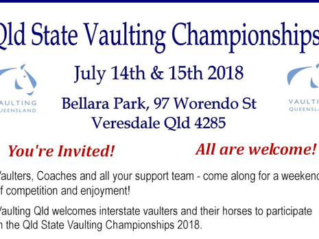 Entries open - Qld State Champs (closing 29th June - via Nominate)