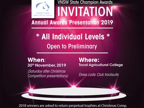 Vaulting NSW 2019 Awards