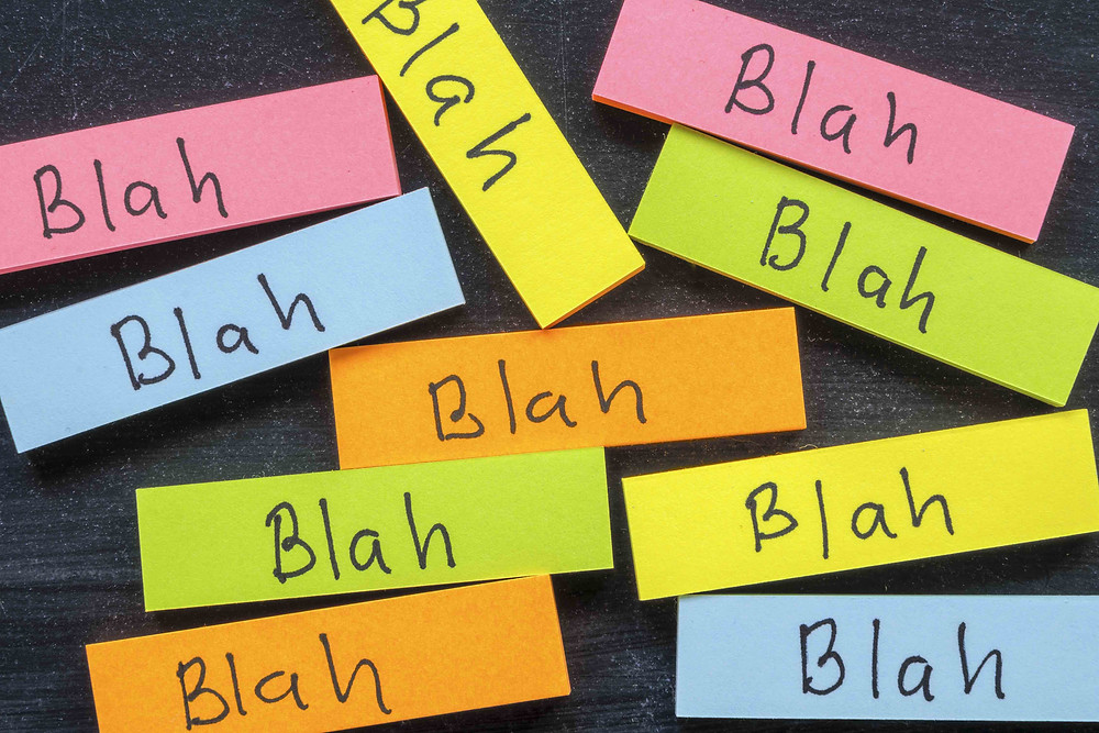 """group of sticky notes that say """"blah"""""""
