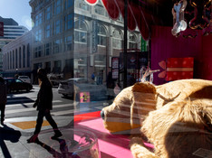 Masked pedestrians walk past a large robotic dog and screens displaying puppies and kittens from SFSPCA in the holiday-decorated windows of Macy's in San Francisco, Calif. Tuesday, November 24, 2020. Every year, the SFSPCA holds an annual pet adoption drive in the holiday-themed windows of the Macy's store in Union Square. Due to the COVID-19 pandemic, this tradition has been adapted into a robotic dog and virtual screens displaying adoptable puppies and kittens.