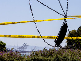 A playground is seen wrapped in caution tape and closed to public use at the Berkeley Marina in Berkeley , Calif. Wednesday, April 1, 2020. California Governor Gavin Newsom introduced stricter guidelines on the existing shelter-in-place order Tuesday, prohibiting picnicking and the use of dog parks and playgrounds.