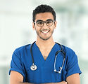 Smiley doctor, standing, crossed arms, o