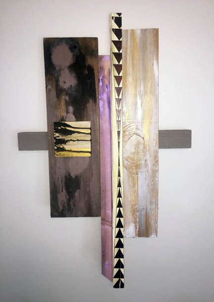 """Stillness"" made of reclaimed wood and paint is part of an exhibit from San Diego based artist Loren Lavine. Loren is the featured artist for the month of October and will be at obrARCHITECTURE on October 14, 2017 from 6pm to 10pm."