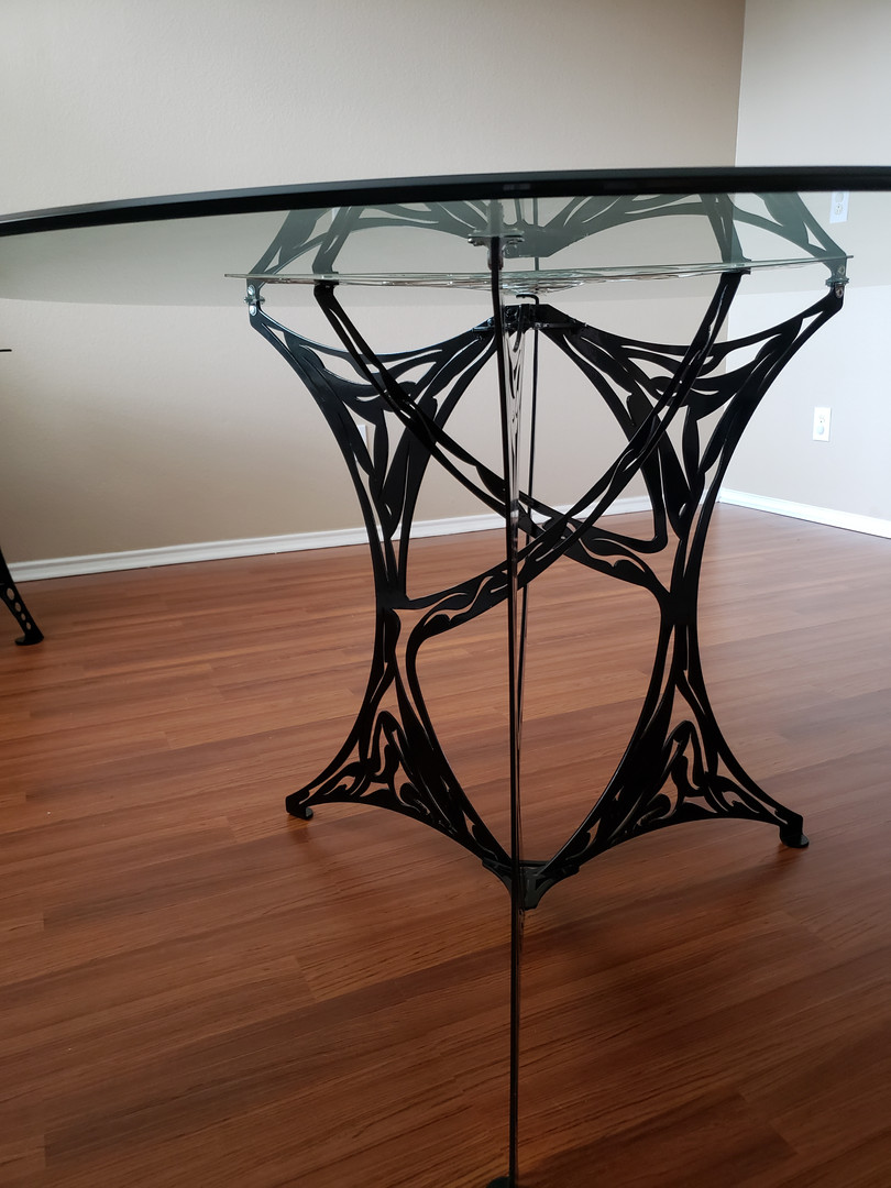 Intricate Table With Glass Top
