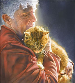 Irena Roman watercolor woman with cat.JP