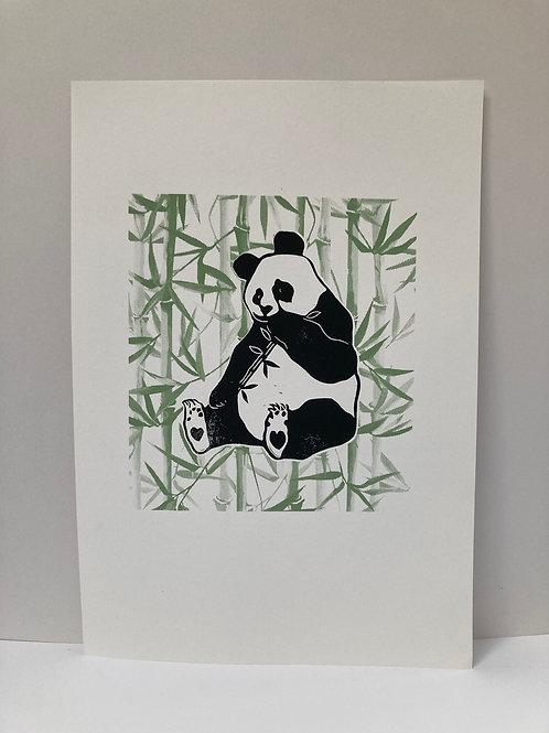 'Baba' Bear Panda linocut + screenprint