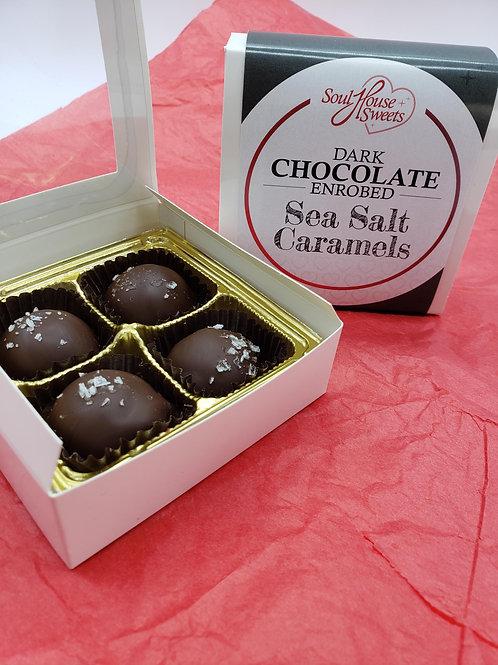 Dark Chocolate Enrobed Sea Salt Caramels