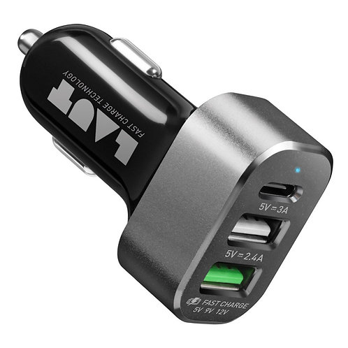 Cargador de carro Laut POWER DASH 7.8 1 port usb  y 2  port usb A