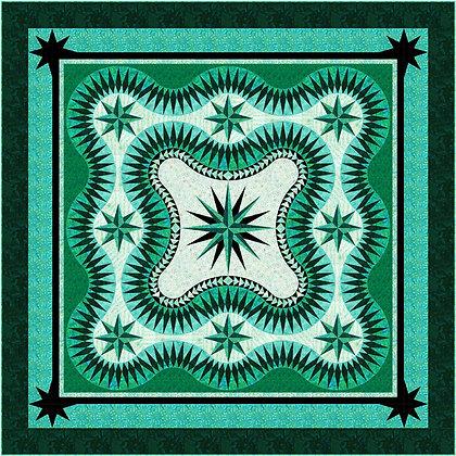 Tribal Stars in Sea Green