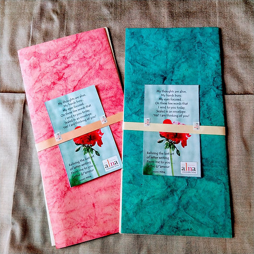 Lettre d/'amour - Set of 2 hand made paper envelopes and cards.