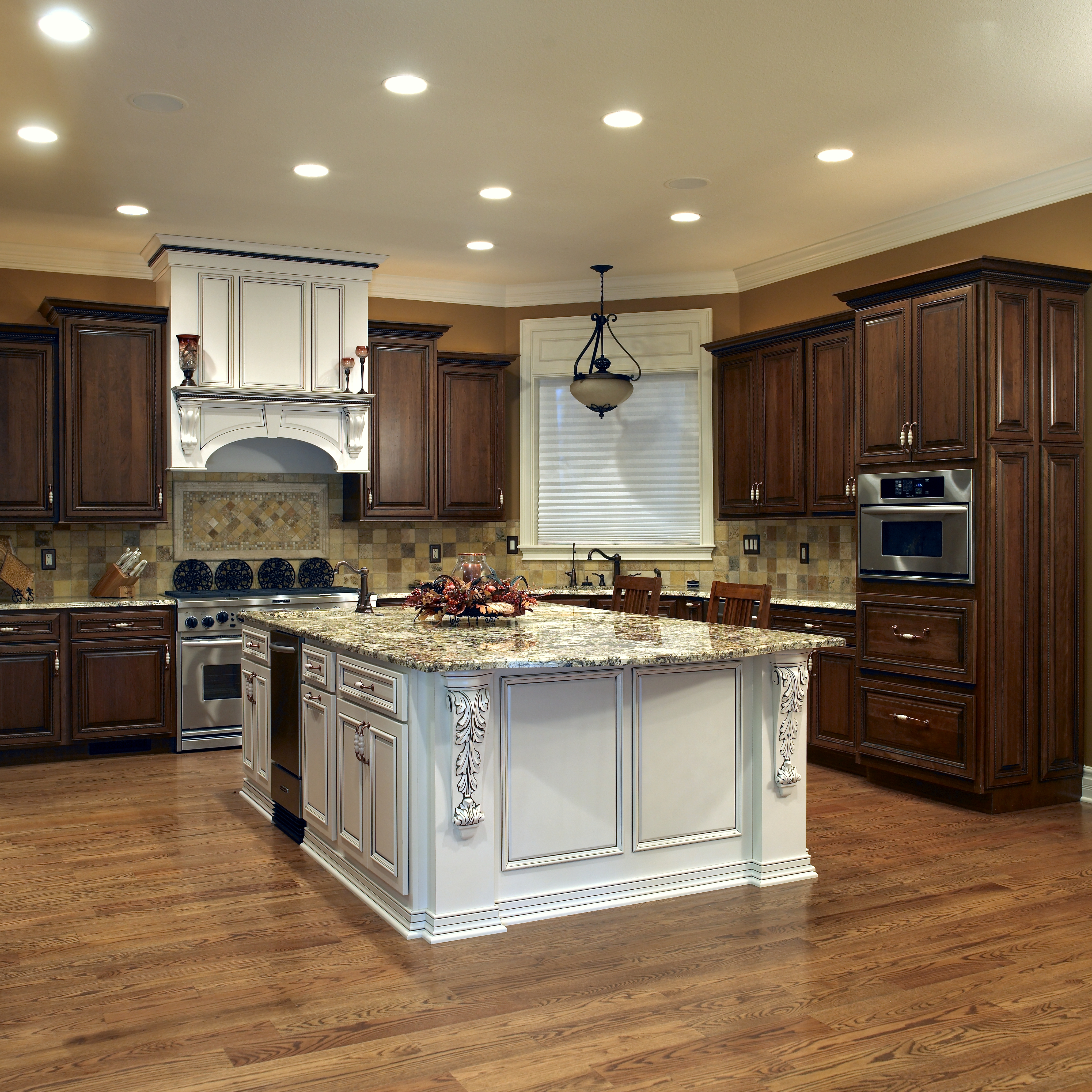 wood stained cabinets