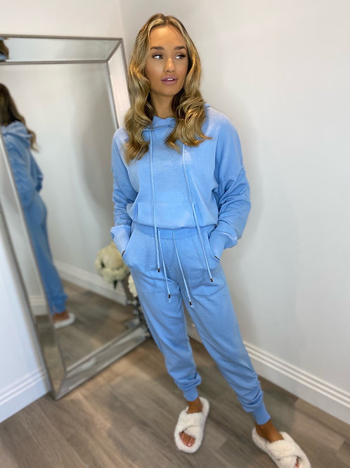RUCHED HOODED LOUNGEWEAR -BLUE