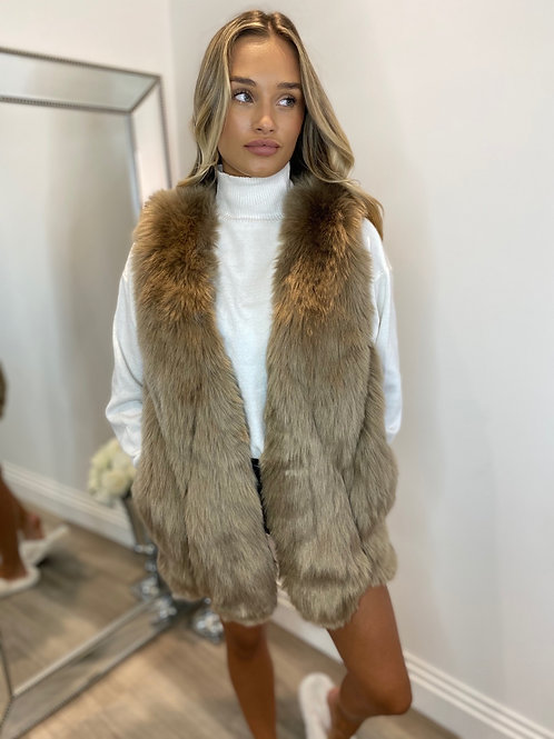 LONG FUR GILET- BROWN