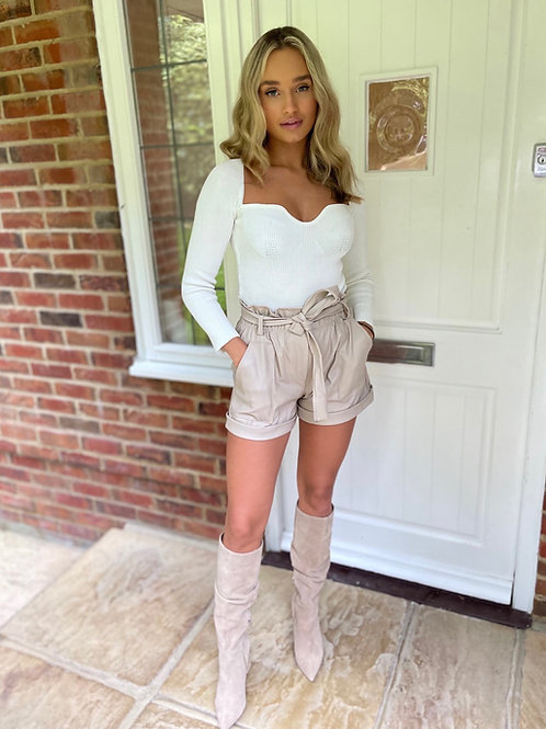 LEAH NUDE LEATHER SHORTS